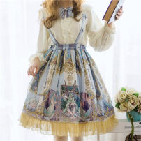 Dress Winter 2020 Picture color skirt L,S Mid length dress singleton  Sleeveless Sweet One word collar High waist Decor Socket Princess Dress other camisole 18-24 years old Type A Wall uncle Bow, fold, lace 91% (inclusive) - 95% (inclusive) Chiffon polyester fiber Lolita