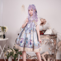 Dress Winter 2020 Picture color L,S Mid length dress singleton  Sleeveless Sweet One word collar High waist Decor Princess Dress other camisole 18-24 years old Type A Wall uncle Bow, fold, lace 91% (inclusive) - 95% (inclusive) Chiffon polyester fiber Lolita