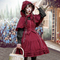 Dress Autumn 2020 S. L, one size fits all Mid length dress singleton  Sleeveless Sweet High waist Solid color Socket Princess Dress camisole 18-24 years old Type A 81% (inclusive) - 90% (inclusive) polyester fiber Lolita