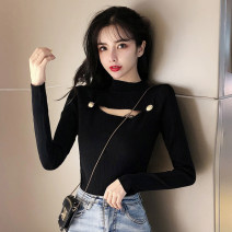 Wool knitwear Autumn of 2019 S M L XL Black white green Long sleeves singleton  Socket other More than 95% have cash less than that is registered in the accounts thickening commute Self cultivation Half height crew neck routine Solid color Socket Retro 18-24 years old Dong Zhiling Other 100%