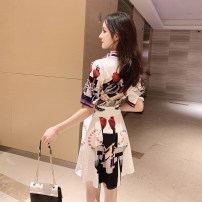 Dress Summer of 2019 Picture color S M L XL Short skirt singleton  Short sleeve commute Polo collar middle-waisted Decor Single breasted Irregular skirt routine Others 18-24 years old Type A Dong Zhiling Korean version Lace up button print More than 95% Chiffon other Other 100%