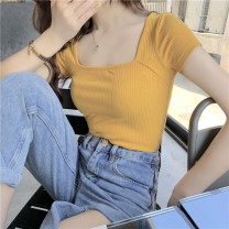 T-shirt Yellow black S M L XL Summer of 2019 Short sleeve square neck Self cultivation Regular routine commute other 96% and above 18-24 years old Korean version youth Solid color stitching Dong Zhiling Splicing thread Other 100% Pure e-commerce (online only)