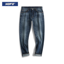 Jeans Youth fashion XOFO 28 30 32 34 36 38 Medium blue routine Red ear denim XON3002A trousers Cotton 100% Four seasons teenagers middle-waisted Fitting straight tube tide 2020 Little straight foot zipper Five bags Cat's whiskers and red ears washed Summer 2020 cotton Exclusive payment of tmall