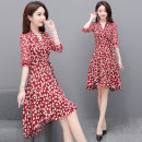 Dress Spring 2021 Red and black M L XL 2XL 3XL 4XL Middle-skirt singleton  Long sleeves commute V-neck High waist Broken flowers Socket A-line skirt routine Others 40-49 years old Type A Mustard beauty Korean version Pleated lacing 21032528LSL More than 95% Chiffon polyester fiber