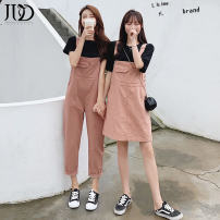Dress Summer of 2019 S M L XL XXL Middle-skirt Two piece set Short sleeve Sweet Crew neck Loose waist Socket A-line skirt routine straps 18-24 years old Kaga More than 95% other Other 100% college Pure e-commerce (online only)