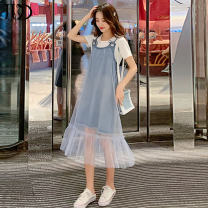 Dress Summer of 2019 Sky blue + white T sky blue + white T M L XL XXL Mid length dress Two piece set Short sleeve Sweet Crew neck Loose waist Solid color Socket Big swing routine camisole 18-24 years old Kaga Lace up stitching J19A274 More than 95% other Other 100% college