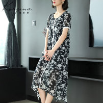Dress Spring 2021 Black and white flower S M L XL XXL XXXL Mid length dress singleton  Short sleeve commute Crew neck middle-waisted Decor Socket other routine Others 35-39 years old Type H Corzina Simplicity KL01-845C More than 95% other polyester fiber Polyester 100% Pure e-commerce (online only)