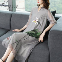 Dress Autumn 2020 Light Grey Pink S M L XL XXL XXXL Mid length dress singleton  three quarter sleeve commute V-neck middle-waisted Big flower Socket A-line skirt routine Others 35-39 years old Type A Corzina Retro 31% (inclusive) - 50% (inclusive) other nylon Pure e-commerce (online only)