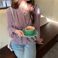 Lace / Chiffon Summer 2020 Smoke purple Short sleeve commute Cardigan singleton  Self cultivation Regular V-neck Decor pagoda sleeve 18-24 years old Cute girl S2712 Retro 31% (inclusive) - 50% (inclusive) Other 100% Pure e-commerce (online only) polyester fiber
