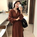 Dress Spring 2020 coffee S M L XL Mid length dress singleton  Long sleeves Sweet V-neck Elastic waist Solid color Three buttons A-line skirt bishop sleeve Others 18-24 years old Type H Cute girl Bow tie button S791 More than 95% brocade other Other 100% Mori Pure e-commerce (online only)