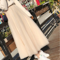 skirt Summer 2021 S,M,L,XL longuette Versatile High waist Fairy Dress Solid color Type A 18-24 years old LSH810 More than 95% Other / other Gauze
