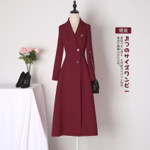 Dress Autumn 2020 Black red green collection baby priority delivery, contact customer service can get discount S M L XL XXL 3XL Mid length dress singleton  Long sleeves commute tailored collar Solid color double-breasted A-line skirt routine Others 25-29 years old Type A Xue Wenduo Korean version