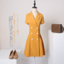 Dress Autumn of 2019 S M L XL XXL 3XL Short skirt singleton  Long sleeves commute tailored collar High waist Solid color double-breasted Irregular skirt routine Others 25-29 years old Type A Xue Wenduo pocket More than 95% polyester fiber Other polyester 95% 5% Pure e-commerce (online only)