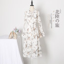 Dress Summer of 2019 Black Floral long sleeve floral short sleeve green leaves contact customer service to get discount S M L XL XXL 3XL Mid length dress singleton  Short sleeve commute Doll Collar High waist Decor Socket A-line skirt routine Others 25-29 years old Type A Xue Wenduo Korean version