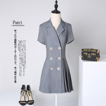 Dress Summer of 2019 Black grey Coral Orange grey Long Sleeve Black Long Sleeve Coral Orange long sleeve 3XL S M L XL XXL Mid length dress singleton  Short sleeve commute tailored collar High waist Solid color double-breasted A-line skirt routine Others 25-29 years old Type A Xue Wenduo XWD1465 other