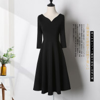 Dress Summer of 2019 Black (no belt) black dress + belt collection baby priority delivery S M L XL XXL 3XL Mid length dress singleton  elbow sleeve commute V-neck High waist Solid color zipper A-line skirt routine Others 25-29 years old Type A Xue Wenduo Korean version XWD1413 More than 95%