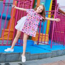 Dress Red color mixing 110cm120cm130cm140cm150cm MaxMartin/Mama Polyester fiber 94.4% Polyurethane elastic fiber (spandex) 5.6% Female summer Korean version Short sleeve Stitching MG850110D32 Cartoon anime Class B Summer of 2018