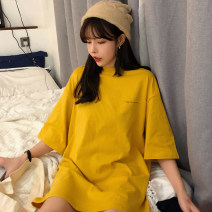 T-shirt Yellow purple white M L XL Spring 2020 Short sleeve Crew neck easy Regular routine commute polyester fiber 51% (inclusive) - 70% (inclusive) 18-24 years old Korean version originality letter Mengyingchun TFUO92453 printing Polyester 65% Cotton 30% polyurethane elastic fiber (spandex) 5%