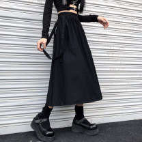 skirt Autumn 2020 M L XL 2XL black Mid length dress commute High waist A-line skirt Solid color Type A 18-24 years old More than 95% Mengyingchun cotton Bandage Korean version Cotton 100% Pure e-commerce (online only)