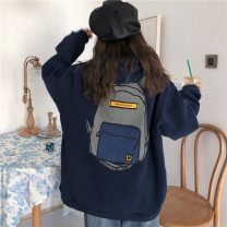 Sweater / sweater Winter of 2019 Blue white M L XL Long sleeves routine Socket singleton  Plush Hood easy commute routine Cartoon animation 18-24 years old 96% and above Mengyingchun Korean version polyester fiber printing polyester fiber Intradermal bile duct Polyester 100%
