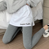 Leggings Summer 2020 Dark grey black S M L Thin money trousers qq8011 18-24 years old Mengyingchun other Pure e-commerce (online only) Cotton 95% polyurethane elastic fiber (spandex) 5%