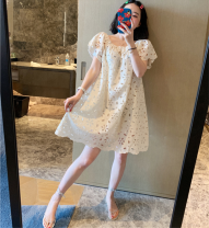 Dress Summer 2020 Beige (in stock), ivory (in stock) Average size Mid length dress singleton  Short sleeve commute One word collar Loose waist Decor Socket A-line skirt Petal sleeve Breast wrapping 18-24 years old Type A Other / other Korean version Lotus edge, hook flower, hollow out More than 95%