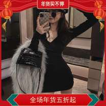 Dress Winter 2020 Black, gray S,M,L Short skirt singleton  Long sleeves High waist Solid color One pace skirt routine 18-24 years old Type A 51% (inclusive) - 70% (inclusive) knitting other