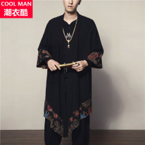 Windbreaker black Others Youth fashion M100 to 130 kg, l130 to 160 kg, xl160 to 200 kg, 2XL 200 to 240 kg No buckle Medium length easy Other leisure spring youth other Chinese style Cool clothes Broken flowers No iron treatment Cotton and hemp Assembly hemp