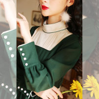 Dress Winter of 2019 blackish green S M L Mid length dress singleton  Long sleeves commute stand collar High waist Solid color Socket A-line skirt shirt sleeve 18-24 years old Type A Annie Chen Retro Stitching buttons Contrast stand collar tuck dress yhd9937 More than 95% other other Other 100%