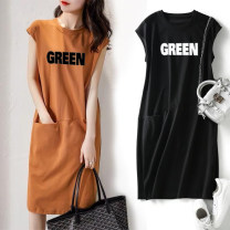 Dress Autumn 2013 Black, Khaki S,M,L,XL,2XL,3XL longuette singleton  Sleeveless commute Crew neck Loose waist letter Socket routine 18-24 years old Other / other Korean version Pocket, print 91% (inclusive) - 95% (inclusive) polyester fiber