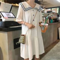 Dress Summer 2021 White, pink, yellow, blue S,M,L,XL Mid length dress singleton  Short sleeve Sweet Admiral Loose waist Solid color Socket other routine Others 18-24 years old Type H Button 31% (inclusive) - 50% (inclusive) brocade cotton solar system