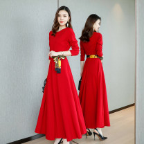 Dress Spring 2021 Black, red M. L, XL, 2XL, collect, pay attention to gifts longuette singleton  Long sleeves commute Crew neck middle-waisted Solid color zipper Big swing routine Others 30-34 years old Type A Korean version Lace up, splice, strap ZYYS90796 51% (inclusive) - 70% (inclusive) brocade