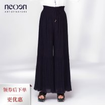 Casual pants Dark purple S M L Summer 2020 trousers Wide leg pants High waist commute Thin money 30-34 years old NB18X51P37 Neoen / shadow fold Polyester 100% Same model in shopping mall (sold online and offline)