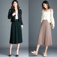 skirt Summer 2020 S,M,L,XL Four seasons black, four seasons apricot, four seasons dark green, four seasons skin pink, four seasons gray, four seasons dark blue, four seasons pickle green, four seasons dark coffee Mid length dress commute High waist Pleated skirt Solid color Type H 1663T Retro