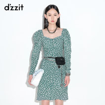 Dress Summer 2021 Dark green XS S M Short skirt Long sleeves commute square neck Broken flowers zipper A-line skirt routine 25-29 years old Type A d'zzit Simplicity Frenulum 3D2O6016Q More than 95% other polyester fiber Polyester 100% Same model in shopping mall (sold online and offline)