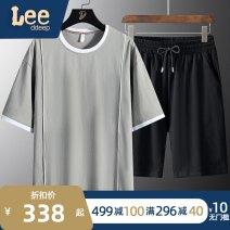 Leisure sports suit summer 4XL M L XL 2XL 3XL 5XL 6XL 7XL 8XL White black grey Short sleeve XOQ trousers youth T-shirt LEEDP-137-TZ3209 cotton Summer 2021