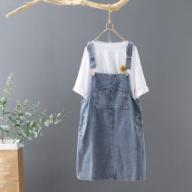 Dress Summer 2020 blue M L XL S Middle-skirt singleton  Sleeveless commute Loose waist Solid color Socket A-line skirt straps 25-29 years old Y · fan / Yuma Korean version Asymmetric strap button with pocket stitching XS5/21-2 More than 95% other Other 100% Pure e-commerce (online only)