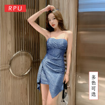 Dress Summer 2020 Apricot blue S M L XL XXL XXXL Short skirt singleton  Sleeveless commute One word collar Elastic waist Solid color Socket Pencil skirt routine camisole 30-34 years old Type H RPU lady Striped bright silk open back fold RP-T1306 51% (inclusive) - 70% (inclusive) nylon