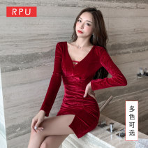 Dress Autumn 2020 Scarlet blue S M L XL XXL XXXL Short skirt singleton  Long sleeves commute V-neck Elastic waist Solid color Socket Pencil skirt routine Others 25-29 years old Type H RPU lady Three dimensional decorative asymmetric strapping Sequin RP-T1360 91% (inclusive) - 95% (inclusive)
