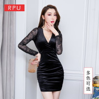 Dress Winter of 2019 Lake blue black red More quantity to order s ml XL XXL Short skirt singleton  Long sleeves commute V-neck Elastic waist Solid color Socket Pencil skirt routine Others 25-29 years old Type H RPU lady Flocking, hollow out, pleated, open back, pleated and stitched mesh lace RPY761