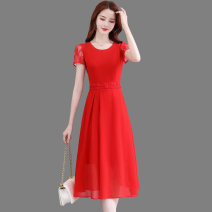 Dress Summer 2020 Red, black, white M L XL XXL Mid length dress singleton  Short sleeve commute Crew neck middle-waisted Solid color Socket A-line skirt other Others 25-29 years old Type A Wan Shangge Korean version WSGZYF8805 More than 95% Chiffon polyester fiber Other polyester 95% 5%