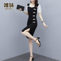 skirt Summer 2021 L XL 2XL 3XL 4XL 5XL Black [skirt for fat people looks thin] Mid length dress commute Natural waist other Solid color 25-29 years old More than 95% Wei Mei other Three dimensional decoration Korean version Other 100% Pure e-commerce (online only)