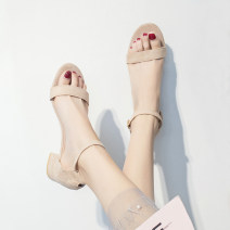 Sandals Suede Ml & LQ / charming love song Toenail Middle heel (3-5cm) Thick heel Summer of 2019 Flat buckle Korean version Adhesive shoes Youth (18-40 years old) rubber Bag heel Thick heel 4262154 Flat buckle Pure e-commerce (online sales only) Apricot upgrade apricot upgrade black
