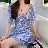 Dress Summer 2021 White, purple, tail goods are delivered randomly M,L,XL,2XL Middle-skirt singleton  Short sleeve commute High waist Decor 18-24 years old Korean version More than 95%