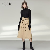 skirt Spring 2020 S M L XL khaki Mid length dress street High waist A-line skirt Solid color Type A 25-29 years old 18AWB510 More than 95% UHR polyester fiber Pocket lace up stereo decorative button Polyester 100% Europe and America