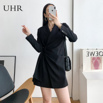 Dress Spring 2021 black S M L Short skirt singleton  Long sleeves commute tailored collar High waist Solid color zipper A-line skirt routine 25-29 years old Type A UHR Frenulum 21SS01L21003 51% (inclusive) - 70% (inclusive) polyester fiber