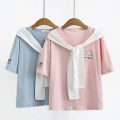 T-shirt Pink Blue M L Summer 2020 Short sleeve Crew neck easy Regular routine Sweet other 96% and above Under 17 Animal design Nixun t3-324 Other 100% Pure e-commerce (online only) college