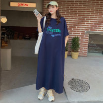 Dress Summer 2021 M L XL XXL longuette singleton  Short sleeve Sweet Crew neck Loose waist letter Socket Big swing raglan sleeve Others 18-24 years old Type H Camus More than 95% other cotton Cotton 100% Mori Exclusive payment of tmall