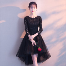 Dress / evening wear Weddings, adulthood parties, company annual meetings, daily appointments XS S M L XL XXL XXXL Korean version Short skirt middle-waisted Winter of 2018 Skirt Princess U-neck zipper 18-25 years old MYX18062 three quarter sleeve Embroidery other Mayashi routine Other 100% other