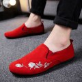 Low top shoes Black red grey three hundred and ninety-four billion forty-one million four hundred and twenty-four thousand three hundred and forty-four Le Mu PU Trochanter Round head Outdoor leisure shoes cloth leisure time daily Color matching Flat heel summer rubber ventilation Adhesive shoes